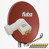 Fuba DAL 800 R Satellitenantenne 80cm Alu Ziegelrot Sat Schüssel + PremiumX LNB Quad PXQS-SE Weiß Quattro Switch zum Direktanschluss von 4 Teilnehmer Digital HDTV Full HD 3D + 8x F-Stecker