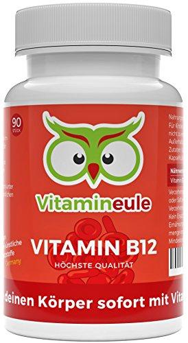 Vitamin B12 Kapseln - Ohne künstliche Zusatzstoffe - vegan - Qualität aus Deutschland - 100% Zufriedenheitsgarantie - 1000µg hochwertiges Methylcobalamin - deutsche Laboranalytik - Vitamineule®
