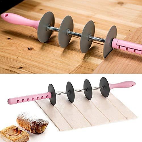 Mintiml Multifunktions-Brotschneider-Set, Klingenwalze + Croissant Schneider, Nudelholz Antihaft-Schneider Kuchen Gebäck Werkzeuge Keks