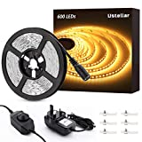 Ustellar Dimmable LED Strip Lights Kit, 600 Units SMD 2835 LEDs, 5M Strip Lighting, 3000lm, 12V LED Tape, Non-Waterproof, Warm White LED Ribbon with Clips for TV Backlight Stairway Home Decoration
