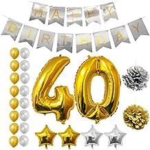 Globos Cumpleaños Happy Birthday #40, Suministros y Decoración por Belle Vous - Globo Grande de Aluminio 40 Años - Decoración Globos De Látex Dorado y Plateado - Aptos para Todos los Adultos