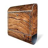 BANJADO Design Briefkasten mit Zeitungsfach, 2 Schlüssel, A4 Einwurf, silber pulverbeschichtet, mit Motiv Trockenes Holz