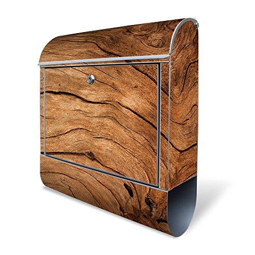 Banjado Design Briefkasten mit Motiv Trockenes Holz | Stahl pulverbeschichtet mit Zeitungsrolle | Größe 39x47x14cm, 2 Schlüssel, A4 Einwurf, inkl. Montagematerial