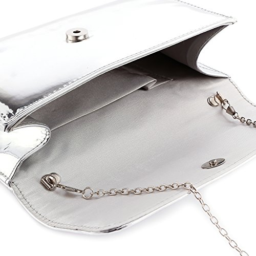 Anladia Metallisch PU Abendtasche Damentasche mit Kette Handtasche Umhaengetasche Clutch Hochzeit Party Fest 3 Farbe Farbe: Silber