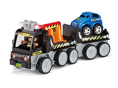 Revell Control Junior RC Car Abschleppwagen - ferngesteuertes Auto mit 27 MHz Fernsteuerung, kindgerechte Gestaltung, ab 3, zum Bauen und Spielen, mit Figur und Mini-Auto, LED-Blinklichtern - 23006 (Lego Mini Cars)