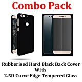Febelo (TM) Branded Combo Pack Of Perfect Fitting Rubberised Hard Black Back Cover + 2.5D 0.33mm Curve Edge Tempered glass Screen Protector For Letv Le 1S