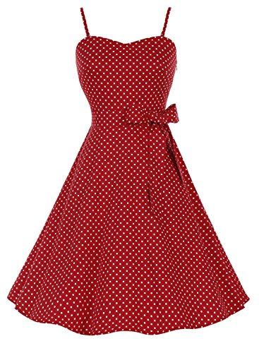 Bbonlinedress modèle 3 Vintage rétro 1950's Audrey Hepburn robe de soirée cocktail année 50 Rockabilly avec bretelles spaghetti Rouge à petit pois blanc