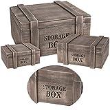 LS-LebenStil Kistenset Holzkiste Dekokiste 3tlg Holzbox mit Deckel Holztruhe Aufbewahrungskiste