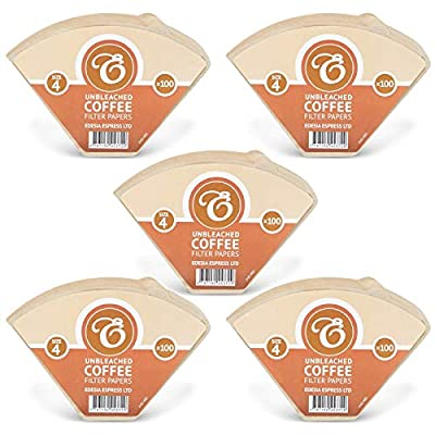 500 Size 4 Coffee Filter Paper Cones, Unbleached by EDESIA ESPRESS