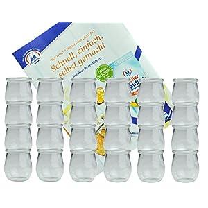 MamboCat 24er Set Weckgläser 220 ml Tulpenform I Original Weck Tulpenglas Dessertglas I Einweckgläser für Obst Gemüse UVM I Weck Gläser ohne Deckel inkl. Diamant-Zucker Gelierzauber Rezeptheft