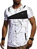 LEIF NELSON Herren Trendiges T-Shirt Hoodie Sweatshirt Crew Neck Rundhals Ausschnitt Kurzarm Longsleeve Modernes Basic