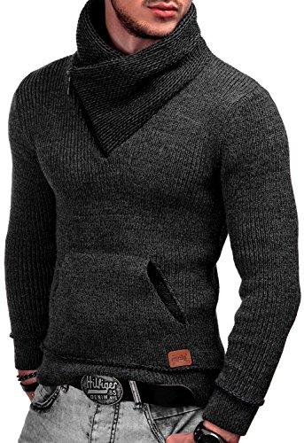 Indicode Herren Dane Grobstrick Winter-Pullover Norweger Hoodie Kapuzenpullover Schalkragen Sweatshirt Raven L