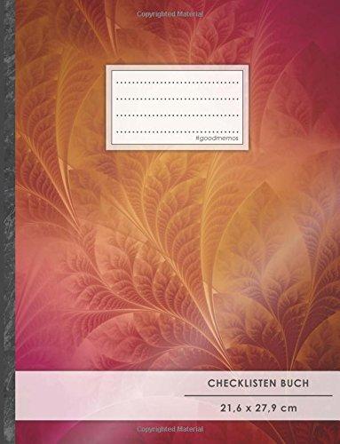 """Checklisten-Buch: DIN A4 • 70+ Seiten, Softcover, Register, \""""Red Leafs\"""" • #GoodMemos • 18 Checkboxen + Platz für Notizen/Seite (inkl. Register mit Datum uvm.)"""