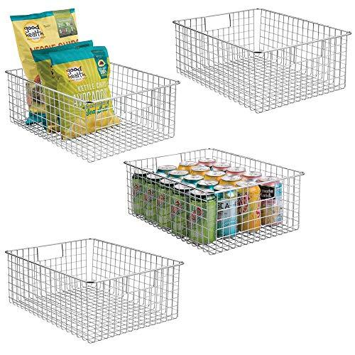 mDesign 4er-Set Allzweckkorb - der Flexible Aufbewahrungskorb für die Küche, Vorratskammer etc. - großer und universeller Drahtkorb mit Griffen - silberfarben