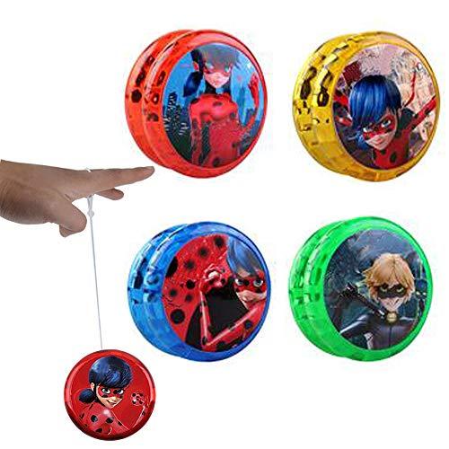 Miraculous Ladybug Yo-yos Ball Flash LED Leuchten Spielzeug für Kinder Kreative Jonglieren Cosplay Spielzeug für Mädchen oder Kinder Action-Figuren Geschenk (4 Paket)