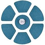 Furnily Vinyl-Tischsets Rutschfeste hitzebeständige fleckabweisende Gewebesektor-Platzmatten für Rundtisch Waschbare Küchentisch-Tischsets, 7-er Set (Blau)