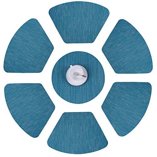 Tovagliette tessute di plastica Stuoie di plastica Tovagliette termoresistenti per tavolo rotondo Tovagliette da cucina lavabili antiscivolo (set di 7, blu)