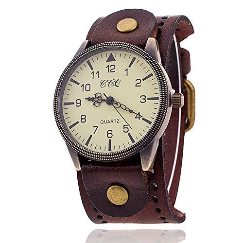 FENKOO Unisex Vintage-Leder-Band große Zifferblatt Quarz Analog Armbanduhr (verschiedene Farben)