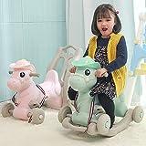 Schaukelpferd Mit Räder Baby Reiten Auf Spielzeug Rocker Kleinkinder Gleichgewichtstraining Für 0,5-4 Kind Neujahr Vorhanden (Farbe : Pink)