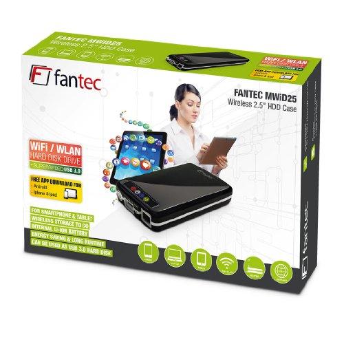 FANTEC MWiD25 1TB Mobile WLAN 6,35cm (2,5 Zoll) Festplatte (WLAN, USB3.0, LAN, Akku integriert) schwarz
