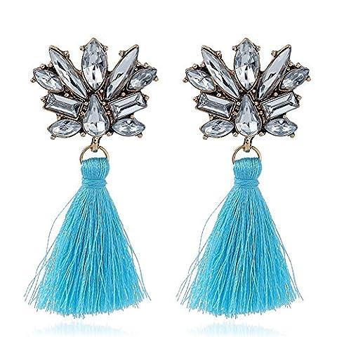 truecharms Bohemia Tassel Earrings Vintage Crystal Drop dangle Earrings for