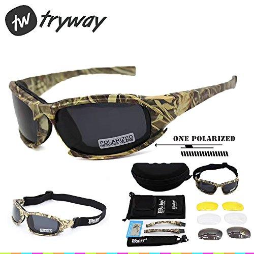 Taktischer Augenschutz, Schutzbrille 4LS, für Herren, Militär-Stil, X7Polarisierte Sonnenbrille, kugelsicher, Airsoft-Brille, Motorradbrille, Fahrradbrille, Camouflage polarized -