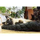 Pet Bett, Matte, Wolldecke. Natürliche und ökologische Wolle. Handmade . Gestrickt. Kostenloser Versand. Cozy kreatives Geschenk. (WOOL MAT BLACK)