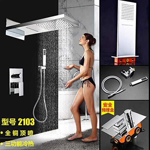 duschgarnitur unterputz Daadi Badezimmer-Wasserfall-Armatur für die Wandmontage, komplettes Kupfer, Unterputz und Duschgarnitur, geeignet für Küche, Badezimmer, Waschbecken Wasserhähne