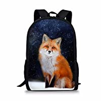 Showudesigns Fox Design School Backpack with Side Pocket for Girls Boys Satchel Bookbag