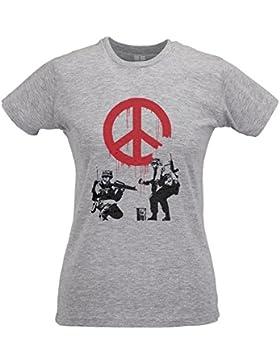 LaMAGLIERIA Camiseta Mujer Slim Banksy Banksy Soldiers - T-Shirt Street Art Design Graffiti 100% Algodòn Ring...