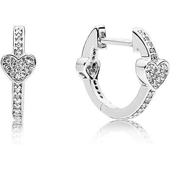 33aa3db18 Pandora Women Silver Hoop Earrings - 296244CZ: Amazon.co.uk: Jewellery