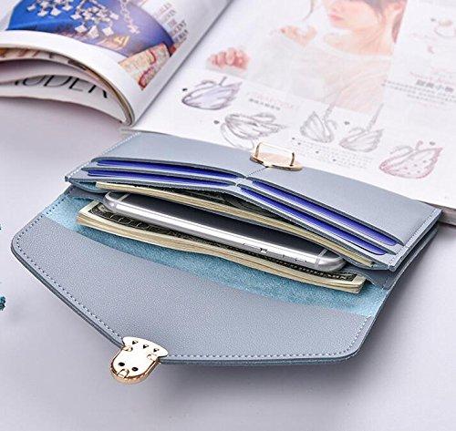 Yudanwin Fashion Elegante Umschlag Faux Leder Geldbörse Phone Halter lange Brieftasche für women-1pc hellblau (Decor Faux Leder Home)