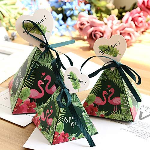 Better-way 100 pcs Triangle Lovely Candy Boîtes pour fantaisie Boîte cadeau de fête de mariage dragées de mariage Candy Box avec des rubans Tropical 5 inch flamant rose