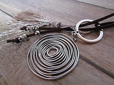 Collier sautoir en suédine brune - spirale infini perle en métal argenté - pompon, cadeaux pour elle, Cadeaux anniversaires, cadeaux Noël, cadeaux maman, st Valentin, mariage, cadeaux maitresses
