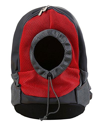 Haustier Rucksack Verstellbar Atmungsaktiv Netzfenster Hund Katze Tasche Outdoor Reise Hunderucksack Rot Klein
