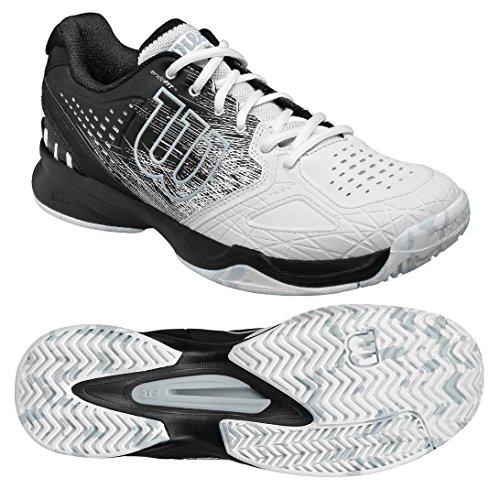 Homme Chaussures de Tennis, Idéal pour Les Joueurs offensifs, pour Tout Type de Terrain, KAOS COMP, Tissu Synthétique, Noir/Blanc (Black/White/Pearl Blue), Taille: 44 2/3Wilson