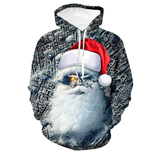 Realde Herren Weihnachten Lange Ärmel Hoodie Kapuzenpullover mit Taschen Neu Weihnachtsmann Drucken Kapuzenshirt Sweatshirt Pullover Herbst Winter Warm Gefüttert Mantel Outwear
