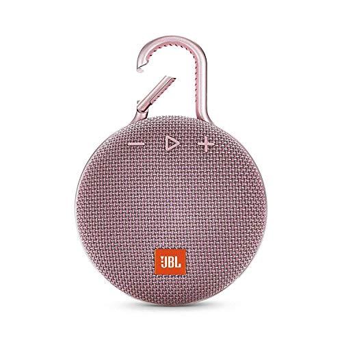 JBL Clip 3 Bluetooth Lautsprecher - Wasserdichte, tragbare Musikbox mit praktischem Karabiner - Bis zu 10 Stunden kabelloses Musik Streaming Rosa