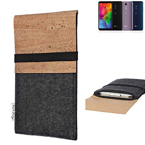 flat.design Handy Hülle SAGRES für LG Electronics Q7 Alfa Made in Germany Handytasche Filz Tasche Schutz Case fair Kork