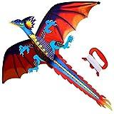 ZIYU Aquilone 140cm x 120 cm/55 x 47 Pollici Dragon Flying Kite con Coda 100m Flying Line per Adulti Bambini