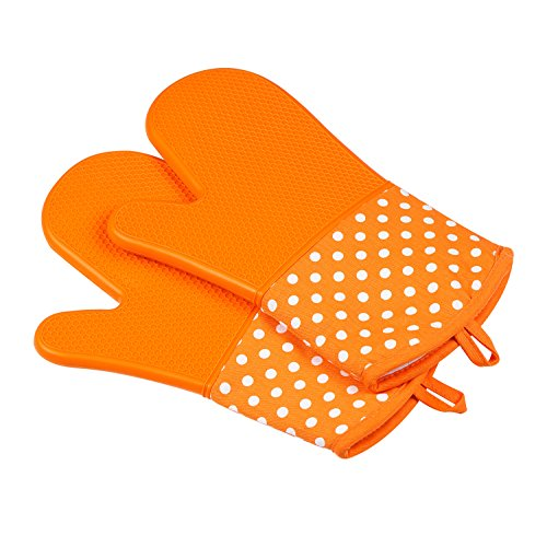 Leesentec Bilayer Hitzerbeständige Ofenhandschuhe, Silikon, 2x Pack, Backhandschuhe, Topfhandschuhe, Grillhandschuhe (Orange) …