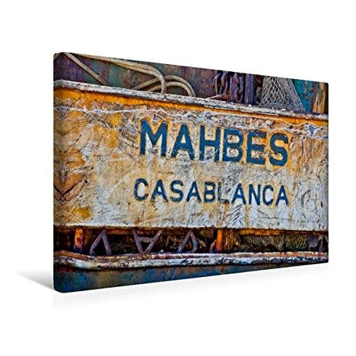 Premium Textil-Leinwand 45 cm x 30 cm quer, Schild eines verrosteten Kahnes im Hafen von Agadir. | Wandbild, Bild auf Keilrahmen, Fertigbild auf ... Leinwanddruck: Casablanca (CALVENDO Orte)