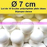 Lote de 10bolas pleines (poliestireno, diámetro 7cm, Styropor blanco densidad profesional