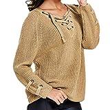 TianWlio Langarm Bluse Damen Frauen Mode Lässige Mode Lose Solid Langarm Top Gestrickte V-Ausschnitt Pullover Bandage Bluse