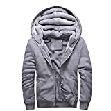 Twinkle UU Jackets Hoodies Herren Kapuzen-Sweatshirt, dick, warm, Pelzfutter, Sportswear Trainingsanzug Herren Mantel X786 - grau - XXX-Large