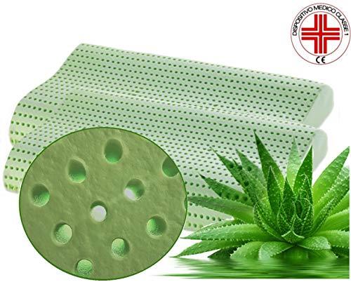Venixsoft coppia cuscini per letto ortopedici in memory foam Anti Soffoco Terapeutico in linfa DI ALOE VERA dall\'effetto cervicale rilassante e riposante. MASSIMA TRASPIRAZIONE-DISPOSITIVO MEDICO CLASSE I-Fodera cotone sfoderabile lavabile.mis70x40x10/12 prodotto mady in italy