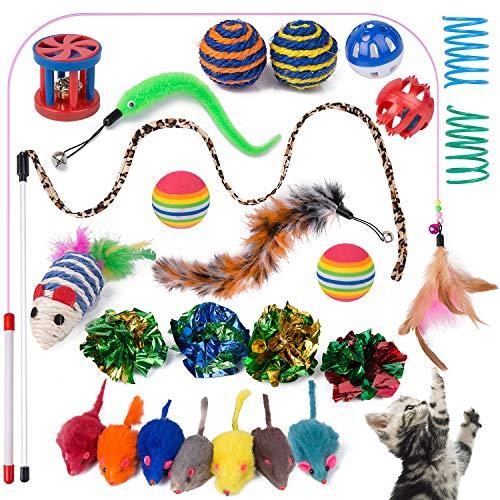 Yangbaga Juguetes para Gatos Juguetes Interactivo Ratón y Bolas Varias con Campanas y Plumas, Cabezas de Repuesto y Catnip Ball Incluido Gatito Gato (25pcs)