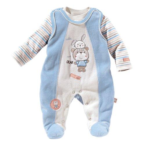 BORNINO 2tlg. Nicki-Strampler-Set Baby Baby-Set, Größe 50/56, hellblau
