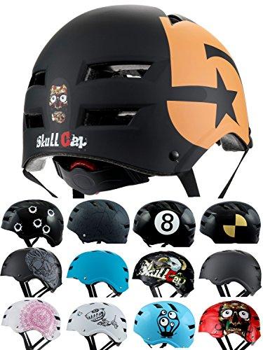 Skullcap BMX Helm  Skaterhelm  Fahrradhelm , Herren | Damen | Jungs & Kinderhelm, schwarz matt & glänzend (No. 5, M (54 - 56 cm))