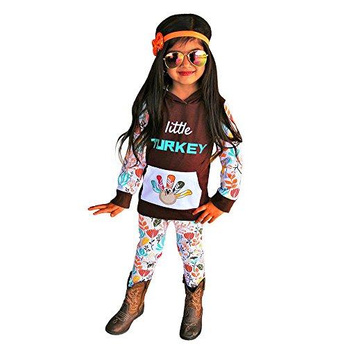 DBHAWKinEU Thanksgiving Neugeborenes Baby Outfits Kleidung Drucken T-shirt Tops + Hosen Set 44 (Kleinkind Thanksgiving Outfit)
